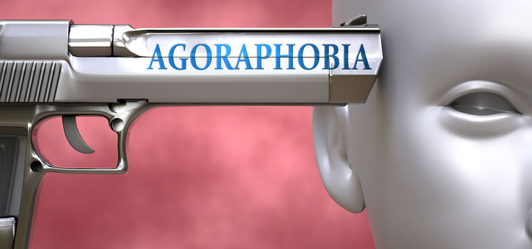 Agoraphobia can be dangerous or deadly for people - pictured as word Agoraphobia on a pistol terrorizing a person to show that Agoraphobia can be unsafe for mental or physical health, 3d illustration