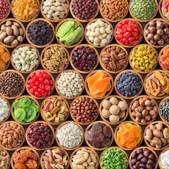 Printed roller blinds Spices colorful collage of nuts and dried fruit, assorted healthy food background.