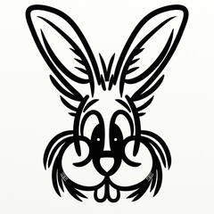 Printed kitchen splashbacks Classical abstraction Cute symmetrical rabbit for funny prints