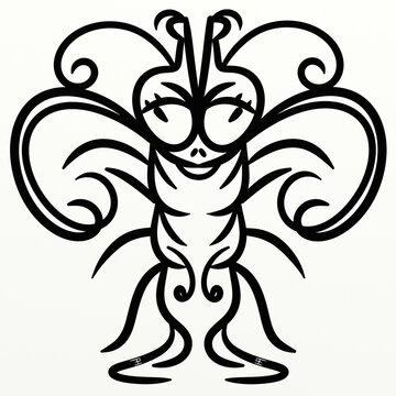 Symmetrical cute insect for fun prints
