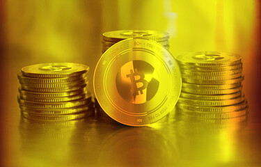 Bitcoin Cash (BCC) digital crypto currency. Stack of golden coins. Cyber money.