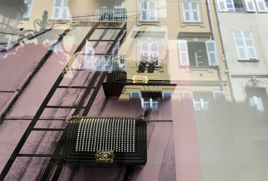 Chanel bags are displayed in the window of a store of luxury fashion group Chanel in Nice