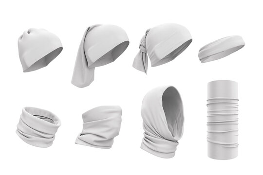 Set of white buffs on the face, neck, on the head. How to wear buffs. 3d realistic illustration of clothes, hats. Template, mockup for design, logo, branding. Clothing presentation.