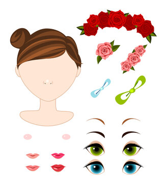 Template constructor. Cute doll head. Face with big eyes. Vector.