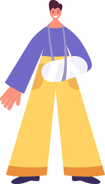 Flat character with a broken arm. World without barriers. Vector flat illustration.