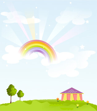 Summer landscape. Background. Sky with clouds and rainbow, green meadow, house and trees.  Digital illustration.