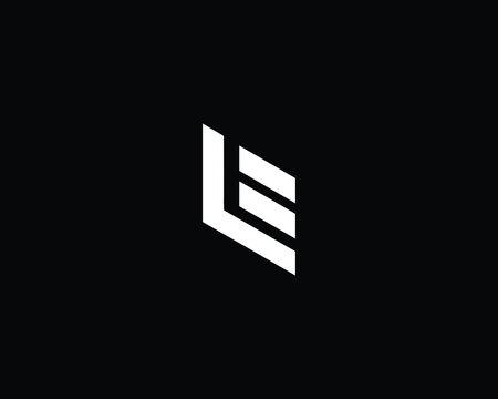 Creative Minimal Alphabet Letter LE Logo Monogram