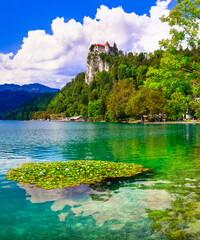 Most beautiful lakes of Europe - Bled in Slovenia with clear waters and splendid medieval castle over rock