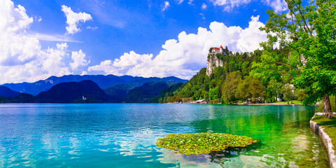 Wonderful lake Bled in Slovenia - one of the most beautiful in Europe