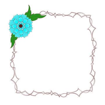 Large spiny square frame with flowers. Digital illustration.