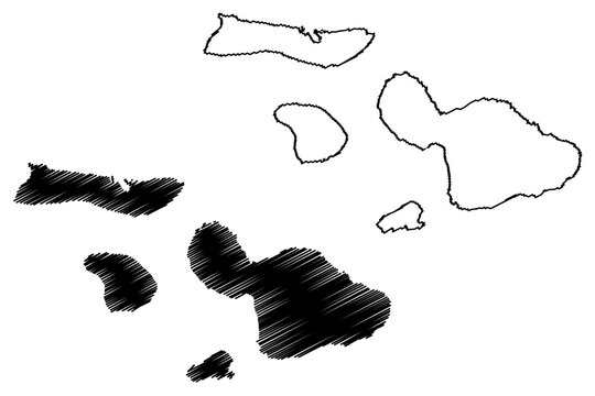 Maui County, Hawaii (U.S. county, United States of America, USA, U.S., US, archipelago) map vector illustration, scribble sketch Maui, Lanai, Molokai and Kahoolawe island map