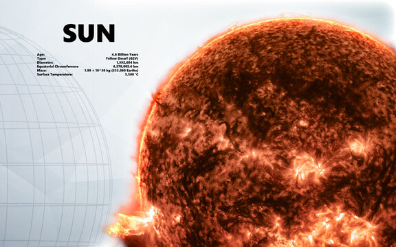 Sun. Minimalistic style set of objects in the solar system