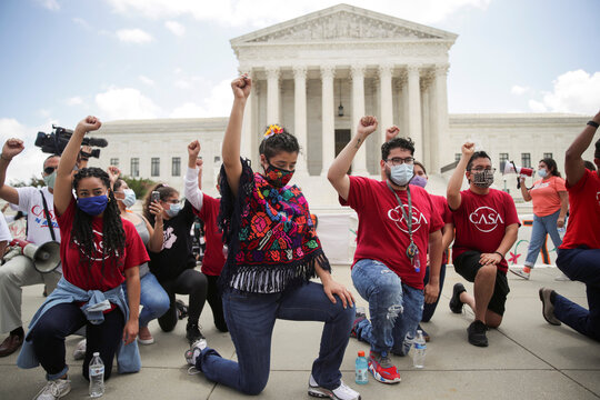 DACA recipients and supporters celebrate outside U.S. Supreme Court after the court ruled that U.S. President Trump's move to rescind the Deferred Action for Childhood Arrivals (DACA) program is illegal in Washington