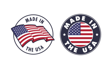 Made in the USA badge collection. American proud badge. United States of America flag color symbol.