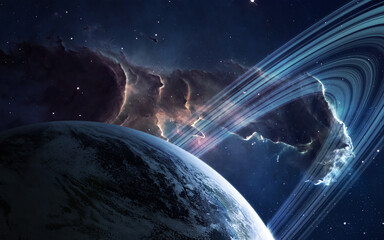Wall Mural - Universe scene with planets, stars and galaxies
