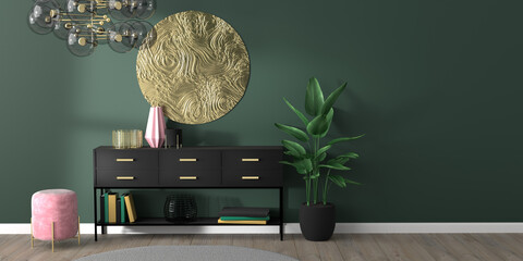Modern, glamorous style interior mock up with art deco elements, blank green wall, black console table, golden wall decoration, velvet ottoman, wooden floor. 3d render illustration.