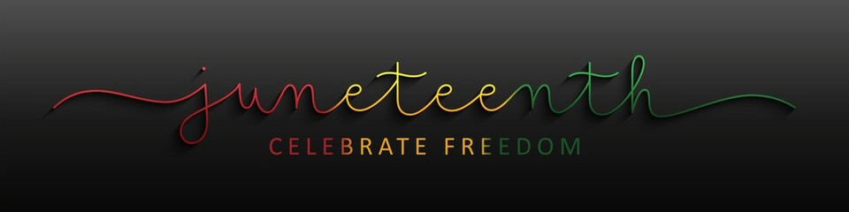 JUNETEENTH colorful vector monoline calligraphy banner on dark background