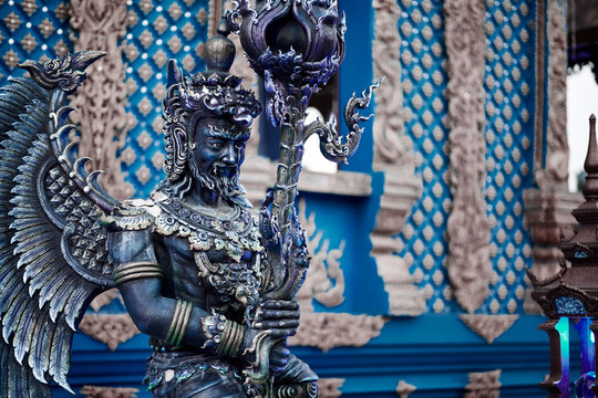 Statue of angel near Blue Temple in Chiang Rai, Thailand