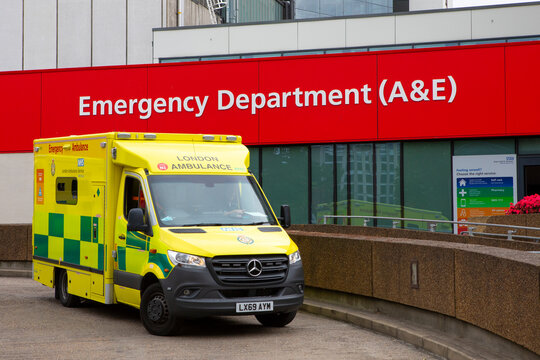 Ambulance at Emergency Department at St Thomas Hospital in London