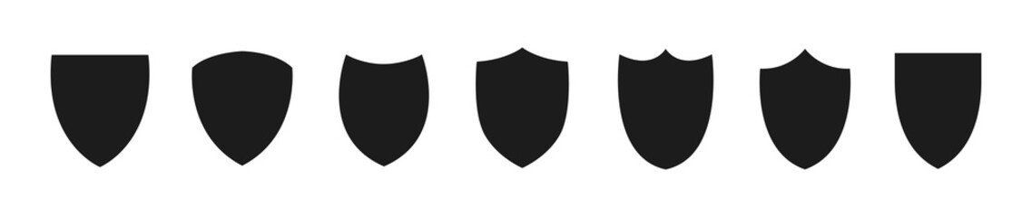 Shield icon set. Protection flat sign.