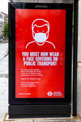 Coronavirus Sign on a Bus Stop in London