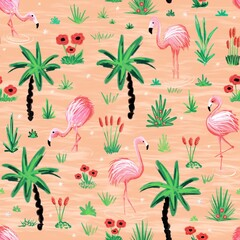 Flamingos seamless repeating pattern. Flamingo birds standing in a pink lake between palm trees, water plants and flowers background. Use for fabric, wallpaper, summer decor