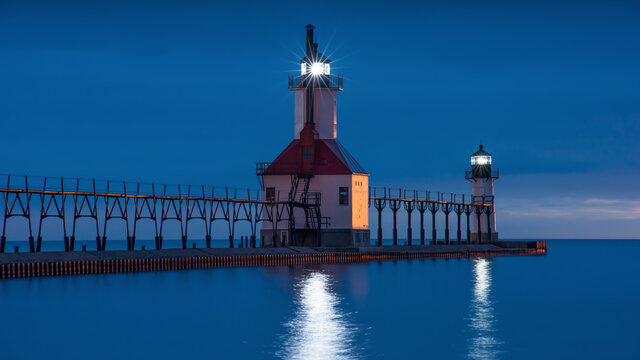 St. Joseph Pier Lighthouse at sunset in Michigan
