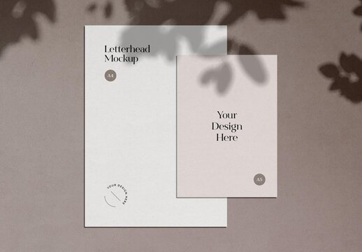 Paper Letterhead Stationery Mockup with Shadow Overlay