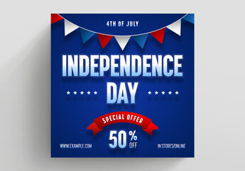 Us Independence Day Sale Social Media Post Layout with Red Accents