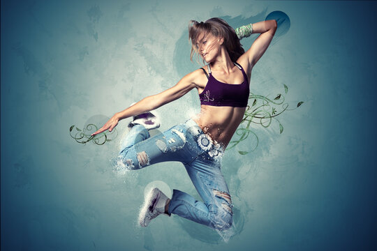 Abstract concept with jumping girl