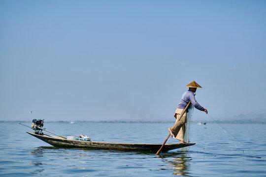Myanmar fisher man on the Inle lake