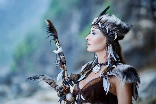 Portrait of Amazon woman with staff