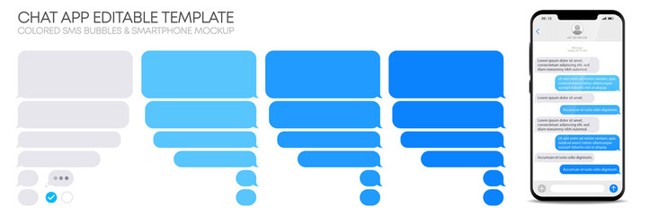 Editable phone chat with text bubbles set - Isolated sms dialogue and message template – Realistic smartphone mockup - Flat vector EPS10 illustration on white background