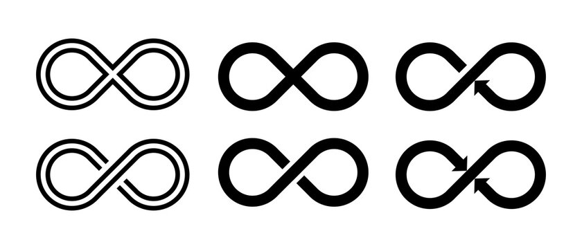 Infinity sumbol. Set Infinity vector icon isolated on white background.