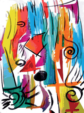 Vector illustration of an abstract aquarelle painting. Colorful, abstract, playful.