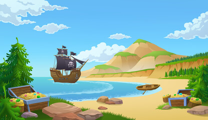 Pirate ship in a bay with trunks of treasure or booty on a sandy beach, colored vector illustration