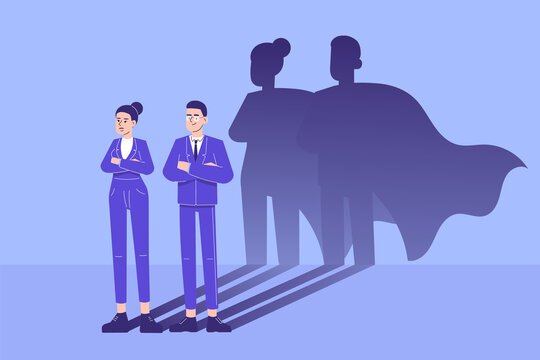 Business hero concept. Young business people standing confidently with superhero shadow. Leadership super hero in business. Success and Ambition. Achievement and Motivation. Vector illustration