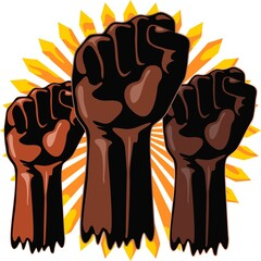 Black Power Raised Fists Symbols Slogan on Abstract yellow sun Vector Illustration