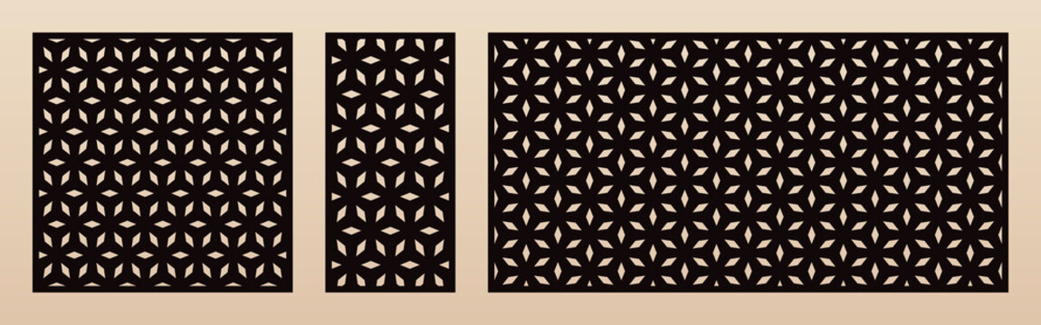 Laser cut pattern set. Vector template with abstract geometric texture in oriental style, floral grid ornament. Decorative stencil panel for laser cutting of wood, metal. Aspect ratio 1:1, 1:2, 2:1
