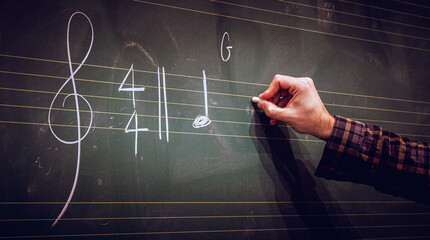 Hand writing music notes on a score on blackboard with white chalk. Musical composition or training or education concept.