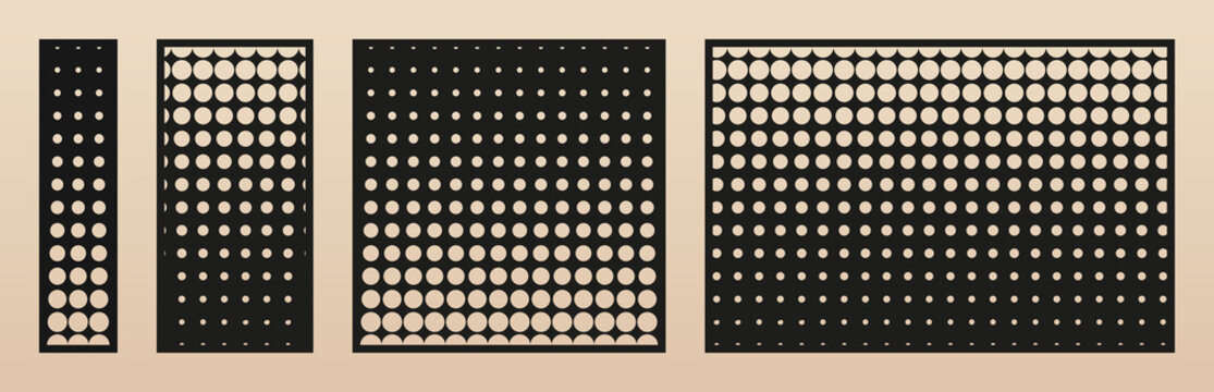 Laser cut panel set. Vector template with modern geometric pattern, halftone dots texture, gradient transition effect, grid. Decorative stencil for laser cutting. Aspect ratio 1:4. 1:2, 1:1, 3:2