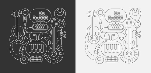 Papiers peints Art abstrait Line art isolated on a dark grey and on a white background Abstract Music Line Art vector illustrations. Design of line art silhouettes of different musical instruments.