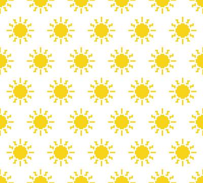 pixel sun pattern seamless. 8 bit sun texture cartoon