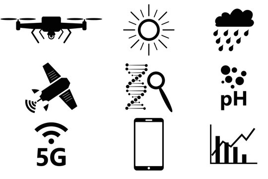 Vector illustration of farming icons for modern and smart farming and gardening concepts on white background.