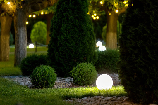 backyard light garden with lantern electric lamp with a round diffuser in the green grass with thuja bushes in a park with landscaping, closeup night scene nobody.