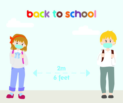 Back to School during new normal wearing face mask and practice social physical distancing among elementary and kindergarten student to protect them from coronavirus covid-19