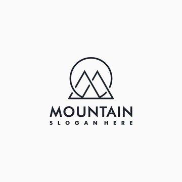 Cool line art mountain logo design inspiration, minimal, ideas, creative Premium Vector