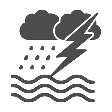 Ocean windstorm with rain and lightning solid icon, nautical concept, ocean storm sign on white background, waves, lightning and rain icon in glyph style. Vector graphics.