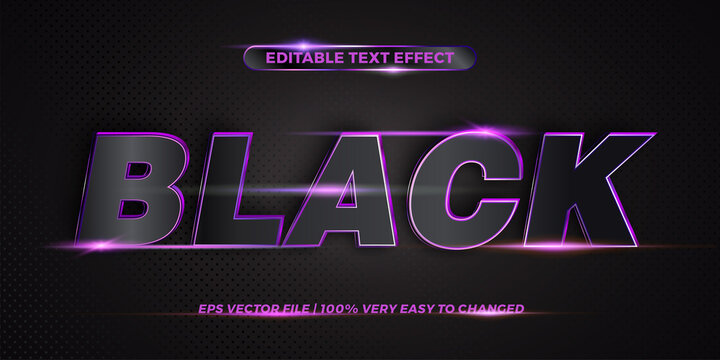 Editable 3d text effect styles mockup concept - Dark blue words with Gradient Black color