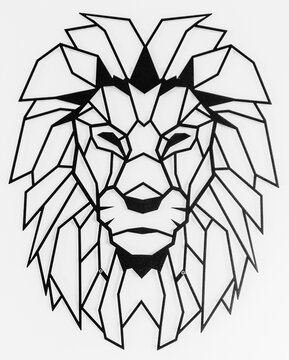 Outline Simple Geometric Lion / Hand drawn doodle outline sea lion.